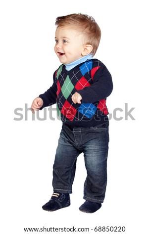 Smiling baby taking its first steps isolated on white background - stock photo