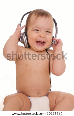 Smiling baby with headphone