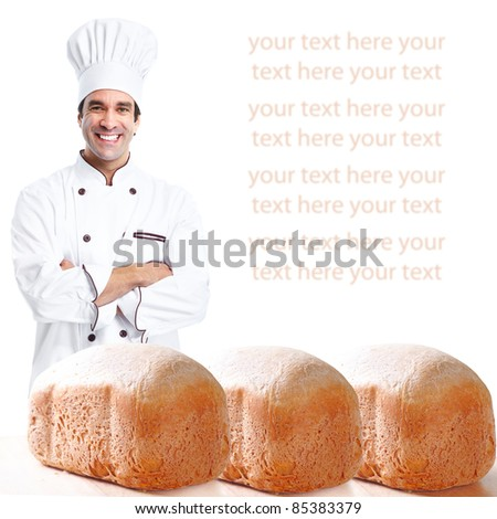 Smiling baker.  Isolated over white background. Gourmet. - stock photo