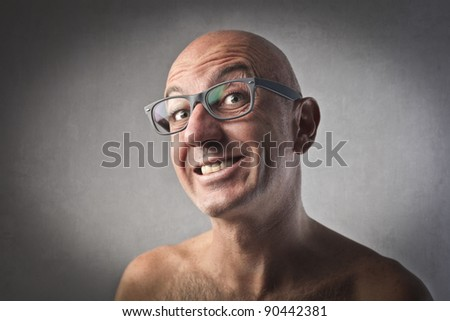 Smiling bald man - stock photo
