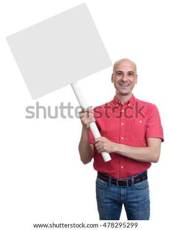 smiling bald man holding a blank sign board. Isolated on white