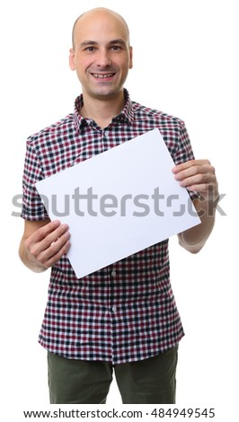 smiling bald man presenting blank paper sheet. Banner with copy space. Isolated on white