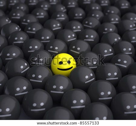 smiling ball in the middle of grey crowd