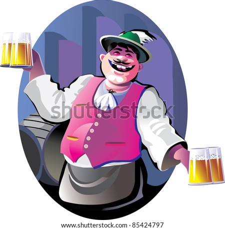 smiling bartender with beer glasses - stock photo