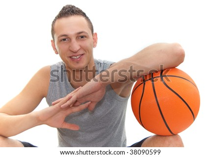 smiling basketball player resting on the  ball, isolated on white, other images in my portfolio