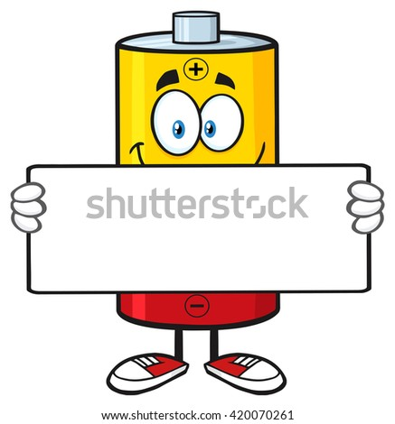 Smiling Battery Cartoon Mascot Character Holding A Blank Sign. Raster Illustration Isolated On White - stock photo
