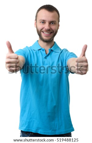 smiling bearded man showing his thumbs up. Isolated on white background. Success
