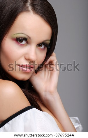 Smiling beautiful brunette woman