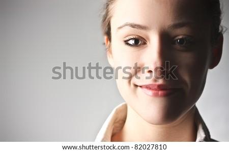 Smiling beautiful businesswoman - stock photo