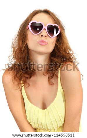 Smiling beautiful girl in glasses isolated on white