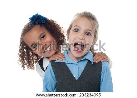 Smiling beautiful kids having fun - stock photo