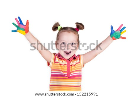 smiling beautiful little girl with hands in the paint, isolated over white - stock photo