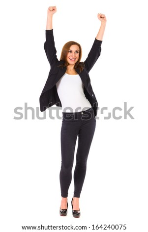 Smiling beautiful woman with raised hands. Full length studio shot isolated on white. - stock photo