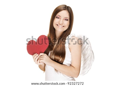 smiling beautiful young woman holding a paper valentine's day red heart , valentines day. isolated on white background