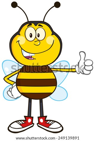 Smiling Bee Cartoon Mascot Character Showing Thumb Up.Raster Illustration Isolated On White - stock photo