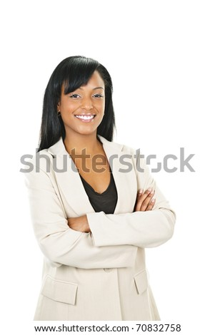 Smiling black businesswoman with arms crossed isolated on white background - stock photo