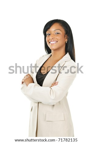 Smiling black businesswoman with arms crossed isolated on white background