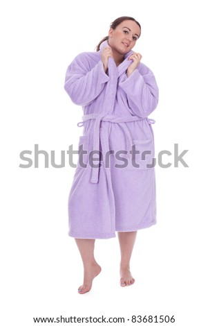 smiling black hair overweight, fat woman in bathrobe, series - stock photo