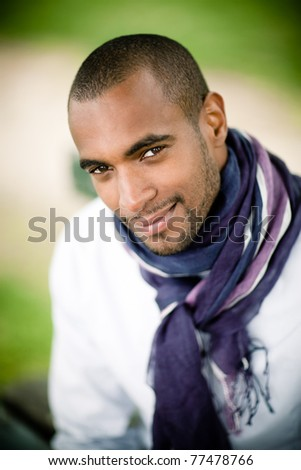 smiling black man outside - stock photo