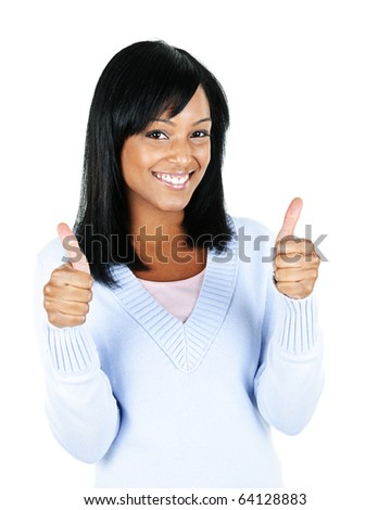 Smiling black woman giving thumbs up gesture isolated on white background - stock photo