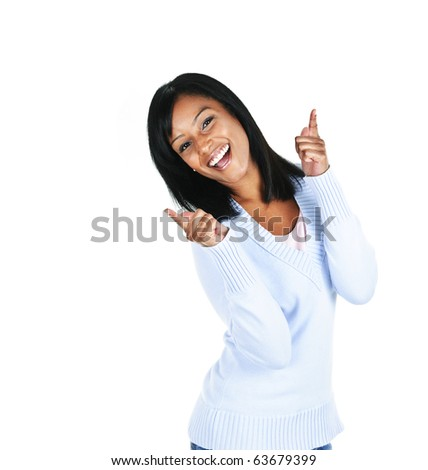 Smiling black woman pointing up isolated on white background - stock photo