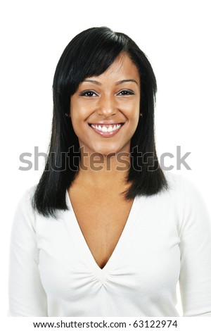 Smiling black woman portrait isolated on white background - stock photo