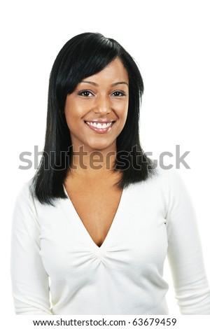 Smiling black woman portrait isolated on white background - stock photo