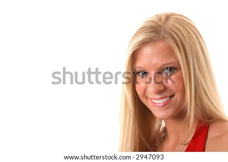 smiling blode in red dress with copy space