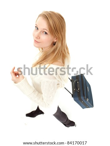 smiling blond hair young woman with suitcase - stock photo