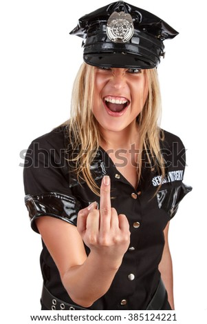 Smiling blond woman in a police uniform.