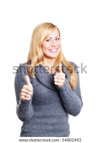 smiling blond woman pointing ok sign over white