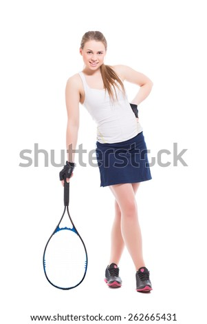 Smiling blond woman posing with tennis racket. Isolated on white - stock photo