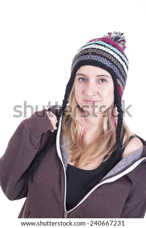 Smiling blonde girl wearing bonnet