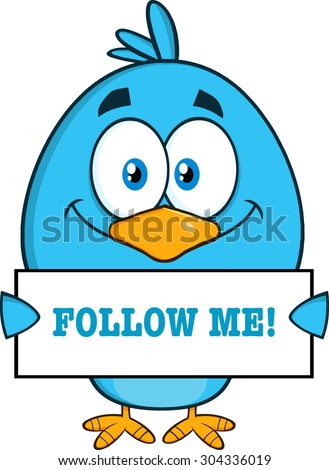Smiling Blue Bird Cartoon Character Holding A Blank Sign With Text. Raster Illustration Isolated On White - stock photo
