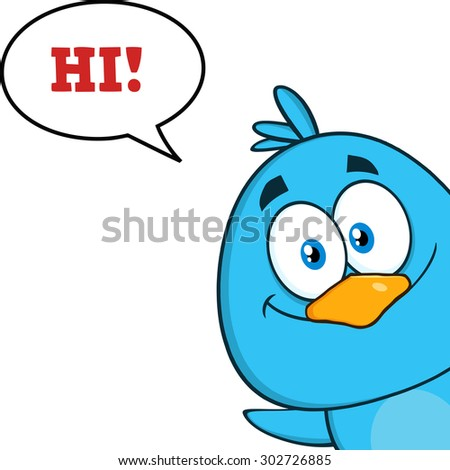 Smiling Blue Bird Cartoon Character Looking From A Corner With Speech Bubble And Text. Raster Illustration Isolated On White - stock photo