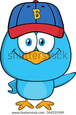 Smiling Blue Bird Cartoon Character With Baseball Hat Waving. Raster Illustration Isolated On White - stock photo