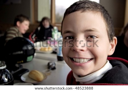 Smiling Boy After Skiing - stock photo
