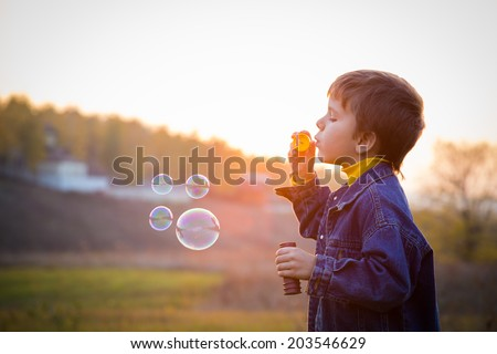 Smiling boy blowing up the soap bubbles on the autumn landscape - stock photo
