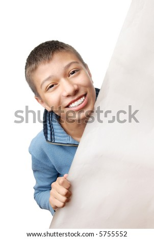 Smiling boy hidden behind the board