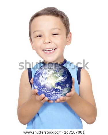 Smiling boy holding planet earth in hands.Elements of this image furnished by NASA - stock photo