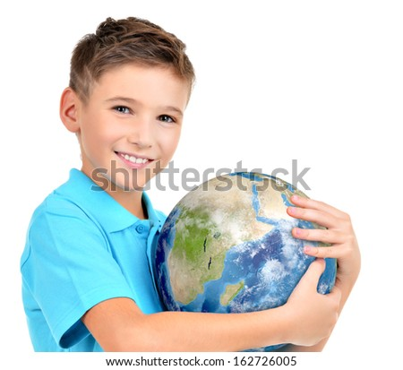 Smiling boy in casual  holding planet earth in hands  -  isolated on white - stock photo