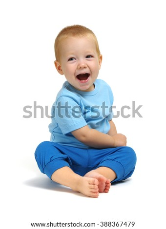 smiling boy isolated on white