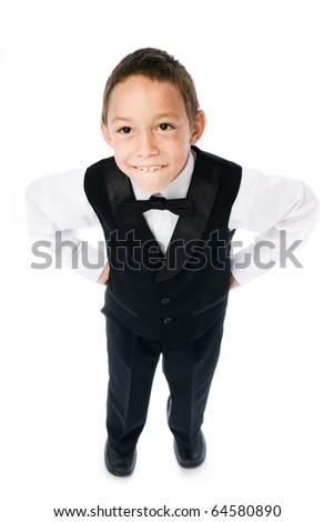 smiling boy isolated on white - stock photo