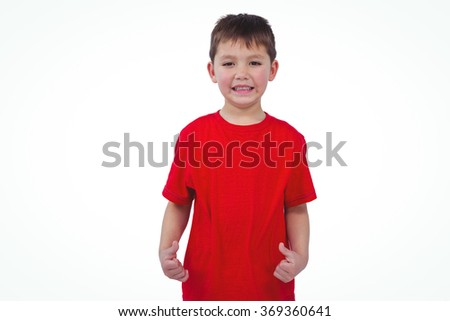 Smiling boy looking at the camera on white screen