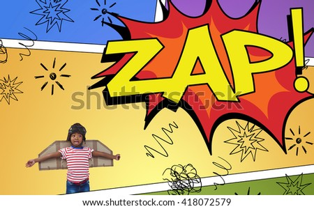 Smiling boy pretending to be pilot against the word zap - stock photo