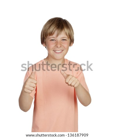 Smiling boy saying Ok isolated on a over white background - stock photo