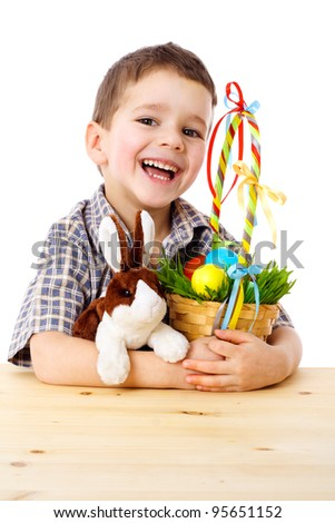 Smiling boy with easter eggs and bunny, isolated on white - stock photo