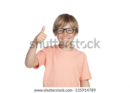Smiling boy with glasses saying Ok isolated on a white background - stock photo