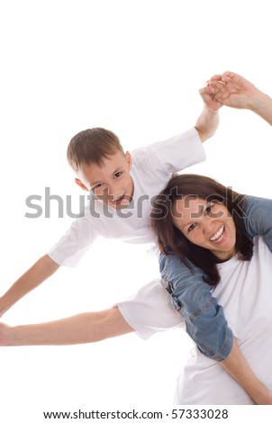 smiling boy with mother on a white