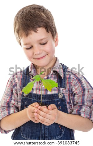 Smiling boy with oak sapling in hands, isolated on white